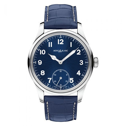 Montblanc Watches 1858 Manual Small Second Ss Blue Dial Allig-Skin Strap