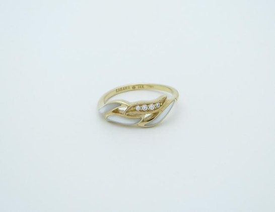 KABANA 14K Ring W Inlay Wht Mop  .05Tw