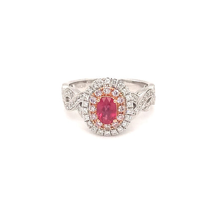 SDR54700-PAD2-XX 14K TWO TONE PINK & WHITE GOLD RING