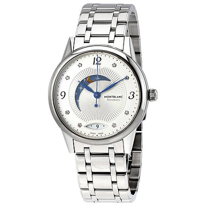 Montblanc Watches Boheme Day & Night Silvery-Wht Guilloche Dial Ss Br Lds Watch