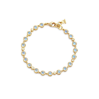 18K YELLOW GOLD SMALL SINGLE ROUND BRACELET WITH ROYAL BLUE MOONSTONE AND DIAMON