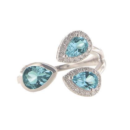 14K White Gold Diamond and Aquamarine Three Stone Ring
