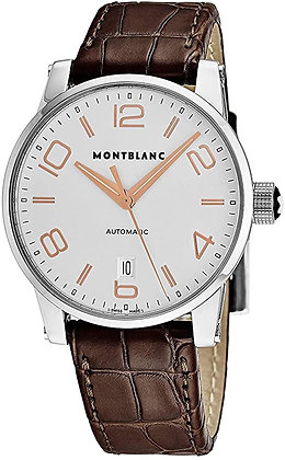Montblanc Watches Dc19 Timewalker Automatic Ss White Dial Brown Leather Strap