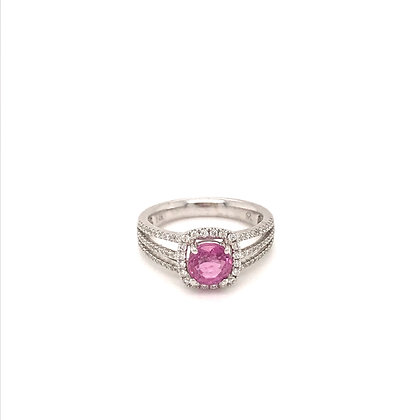 EE130W PS-1 14K WHITE GOLD PINK SAPPHIRE 1.32CT