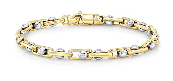 14K 2-TONE CAYMAN LINK BRACELET (Please select link size and bracelet length)