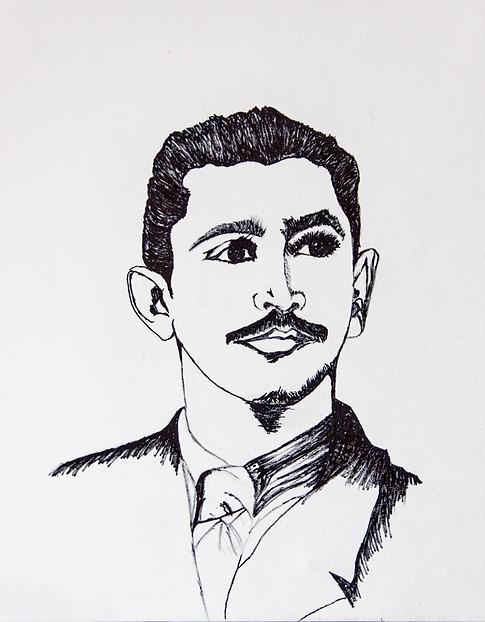 Esboço de pintura que retrata Bianor Mendonça.
