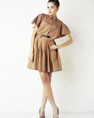 茶色のシルクのドレスでモデル