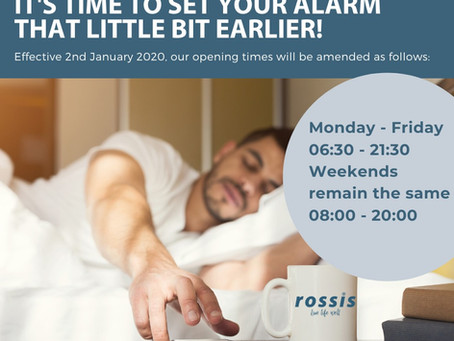 New Opening Times from January