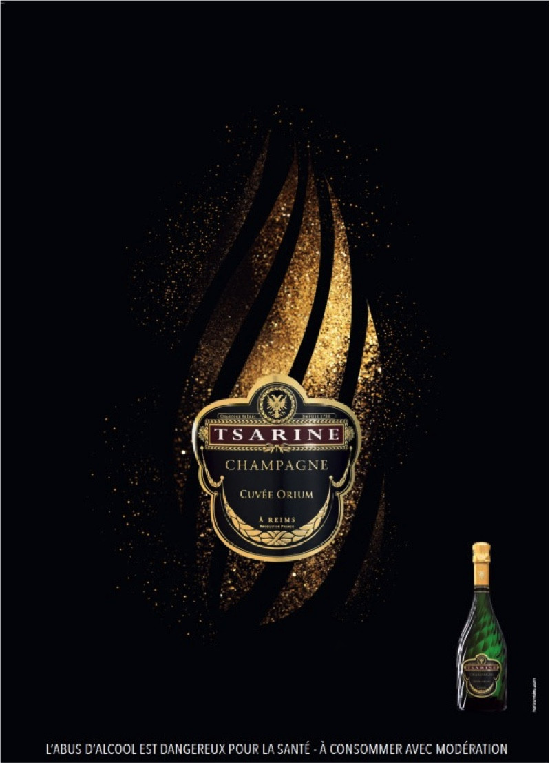 Orium on display in the city: The emblematic Tsarine champagne bottle with its golden swirls