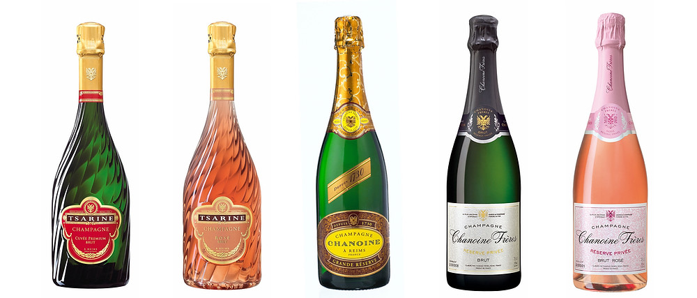 Tsarine champagnes and Chanoine champagnes bottles