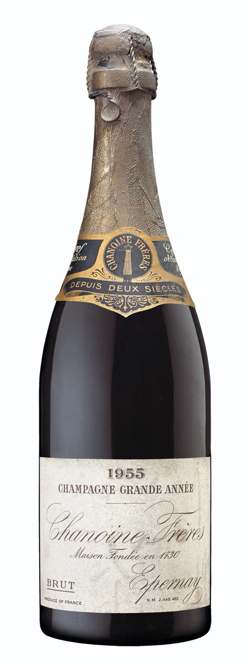 a bottle of Chanoine Frères Brut 1955 vintage champagne