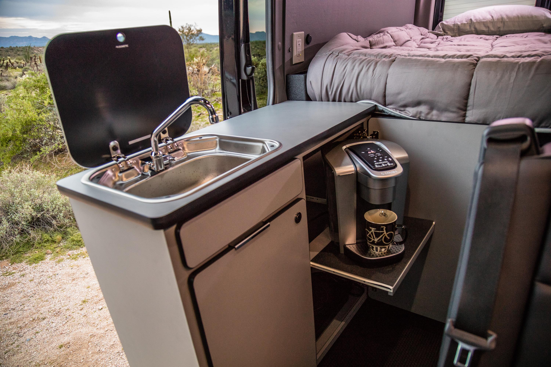 Sink & Espresso Machine in Custom Galley