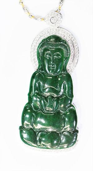 Guanyin Burmese jade Phoenixjewelry  diamonds pendant