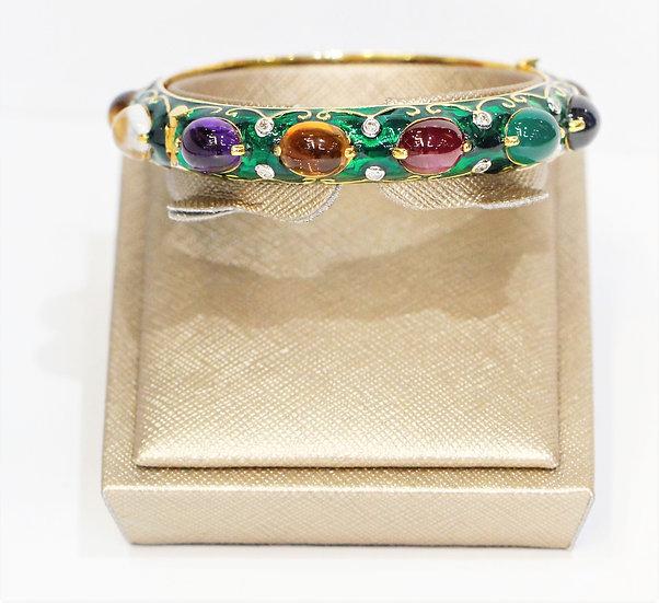 navaratna Yellow gold bracelet