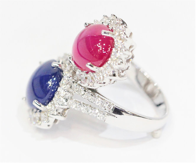 Twin Ruby -Sapphire diamonds ring