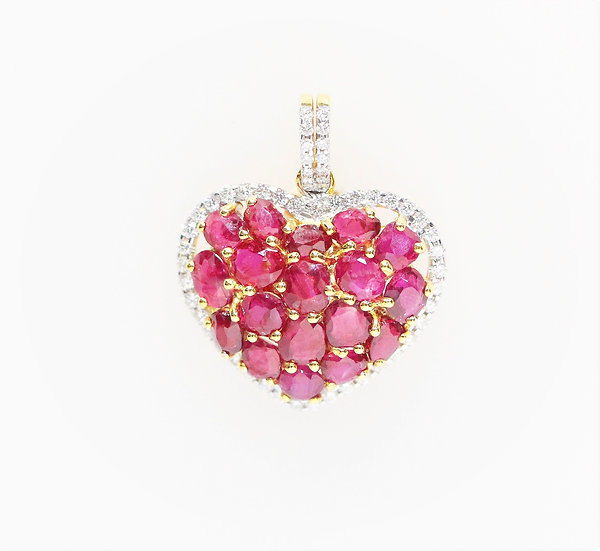 Heart shaped Burmese ruby phoenixjewelry pendant