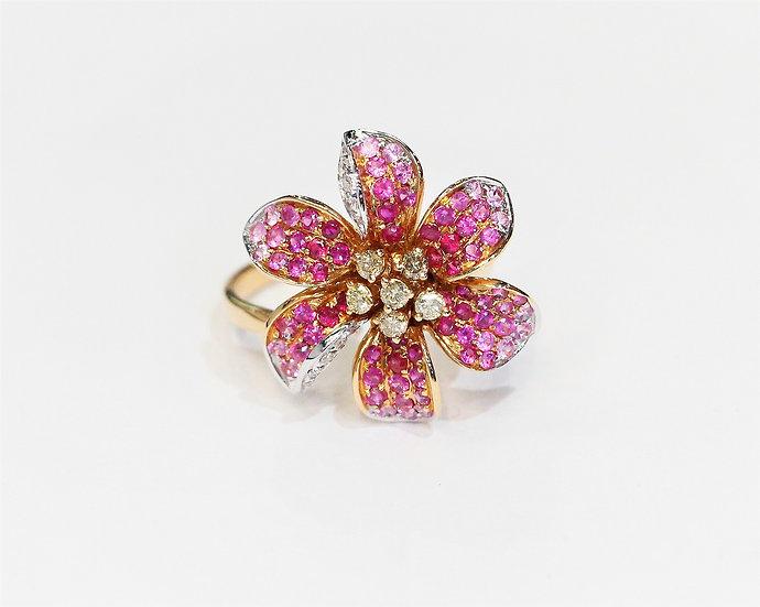 Flower ruby ring