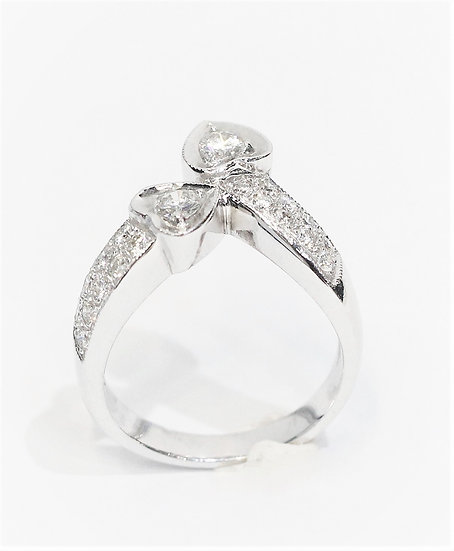 Twin hearts diamonds ring