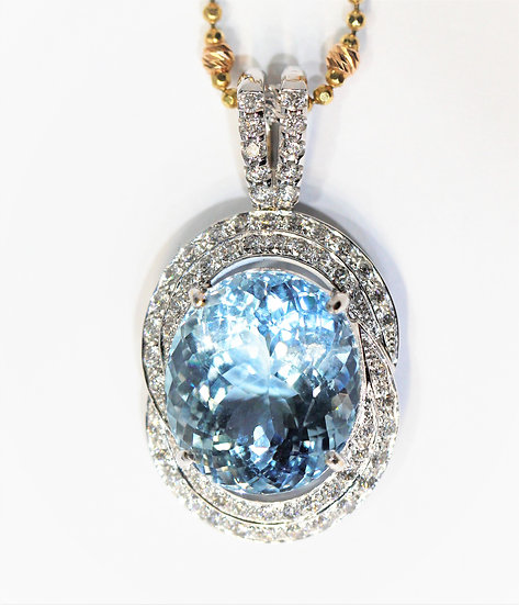 Aquamarine Phoenixjewelry  diamonds pendant