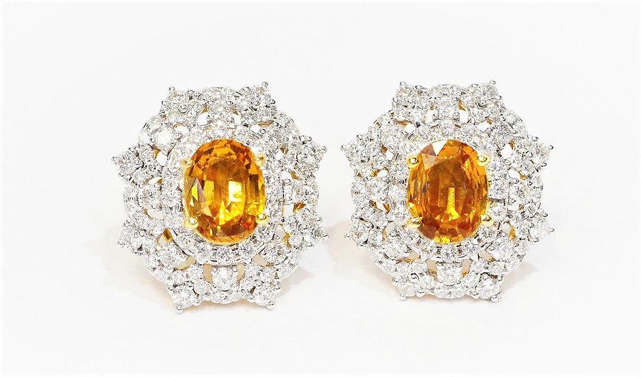 Yellow sapphire Phoenixjewelry diamonds earring