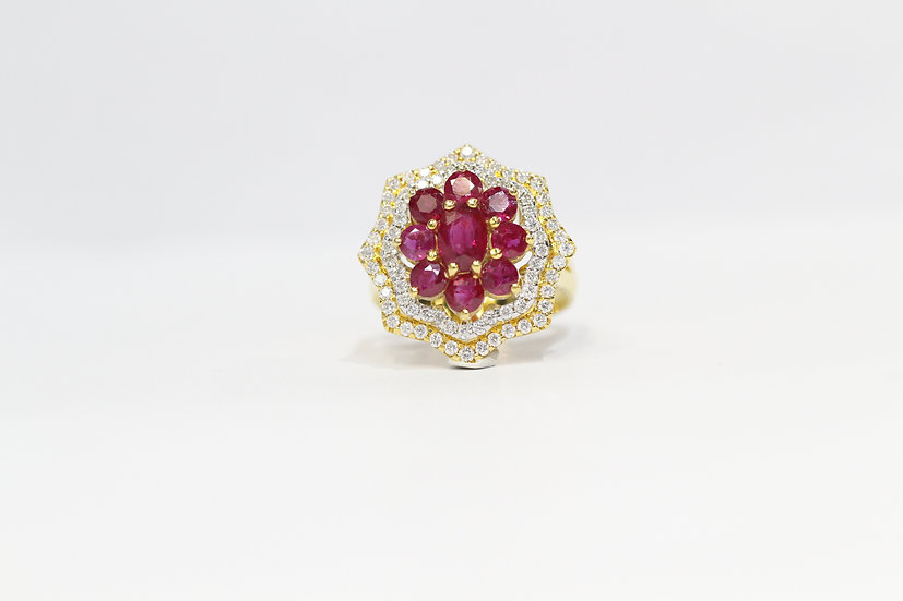 Octagon-shape ruby ring