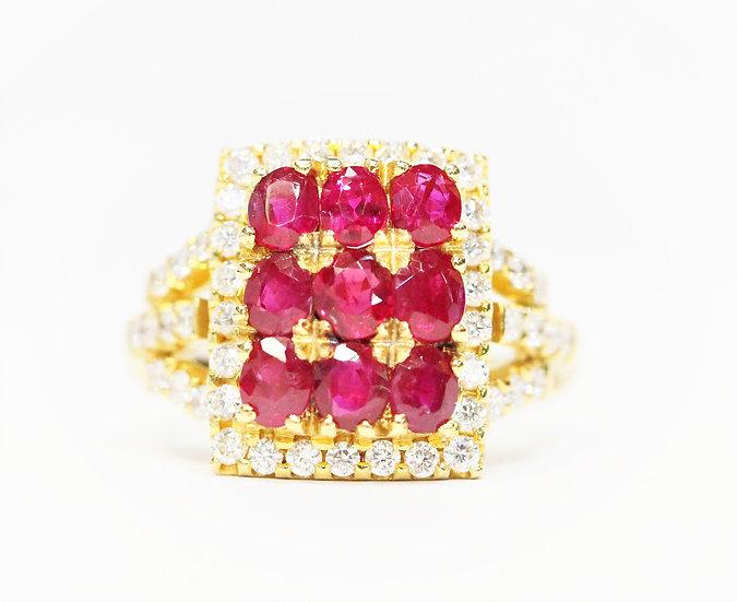 Square Burmese Ruby Phoenixjewelry diamonds ring