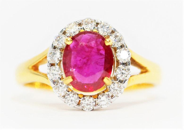 Cer Burmese ruby Phoenixjewelry  diamonds ring