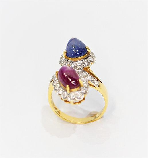 Star Burmese ruby sapphire  phoenixjewelry ring
