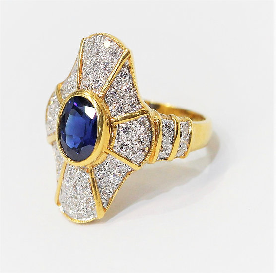 Siam navy blue sapphire ( cer ) ring