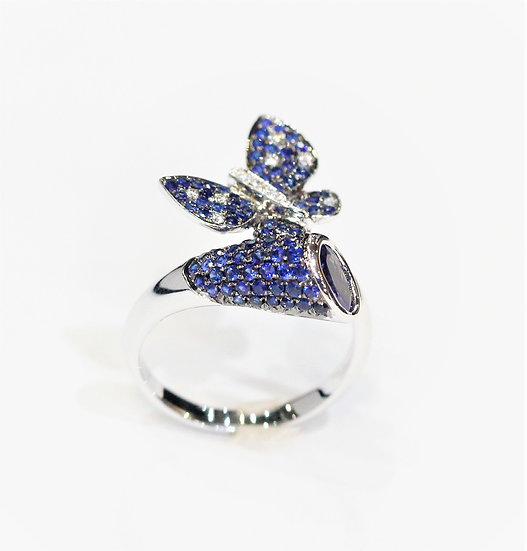 Butterfly Blue sapphire ring