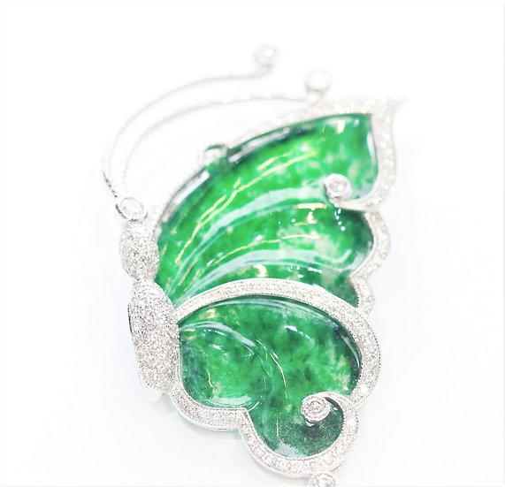 Burmese jade phoenixjewelry brooch