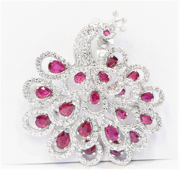 phoenixjewelry Peacock Burmese ruby brooch