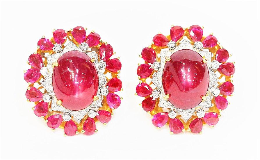 Africa & Burmese ruby  Phoenixjewelry earrings