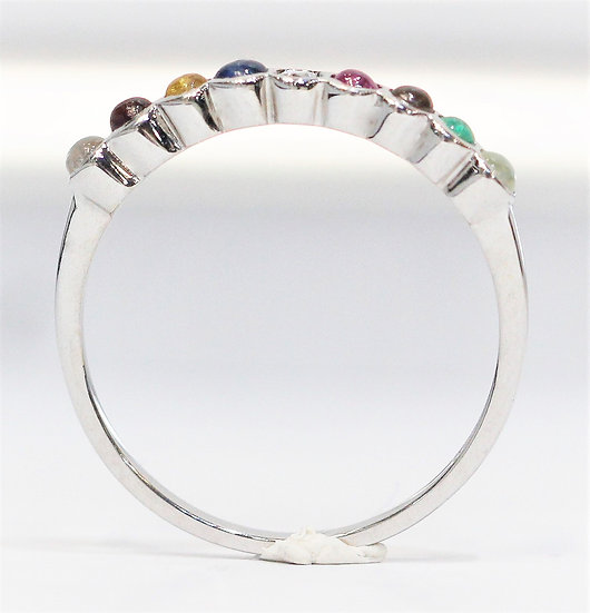 navaratna white gold ring