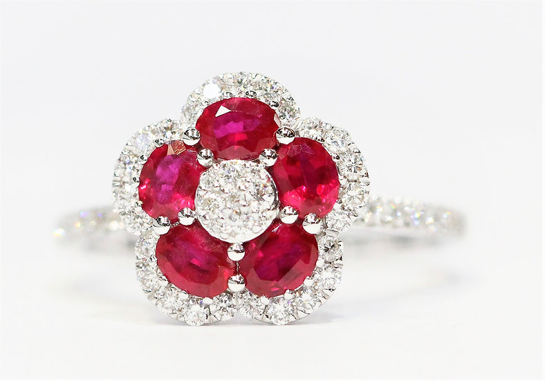 Flower shaped ruby Phoenixjewelry  diamond ring