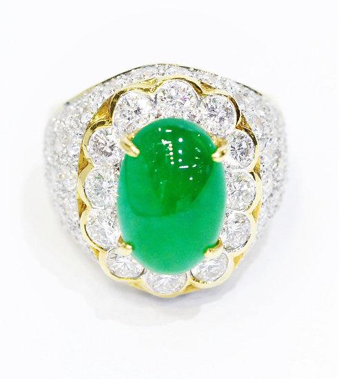 Burmese jade diamond ring