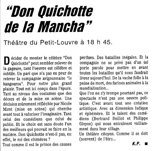 Festival d'Avignon Don Quichotte de la Mancha mise en scène Nicole Mirot