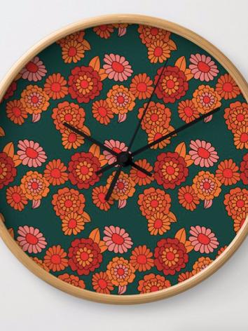 vintage floral clock