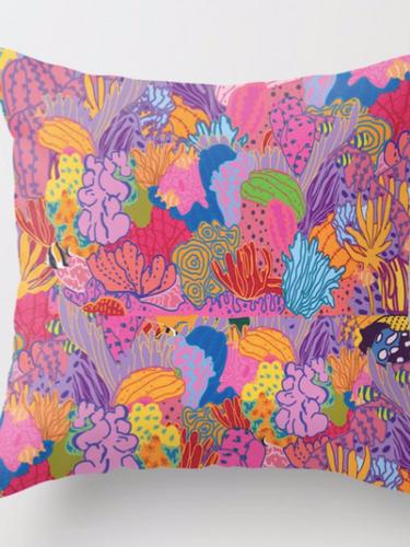 floral coral pillow