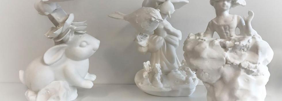 3D printet skulpturer laget av kunstner Helga Bu.