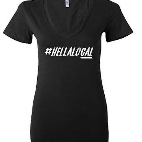 #hellalocal - Womens fitted v-neck