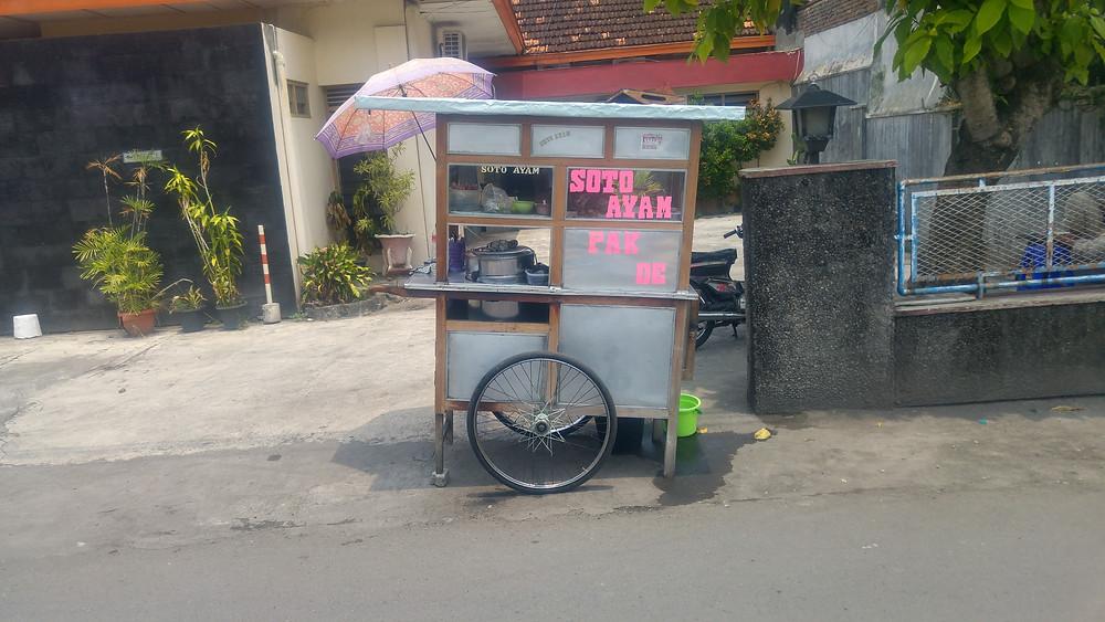 Soto Ayam chicken soup street food stall in Yogyakarta, Java, Indonesia