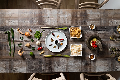 key ingredients of Indonesian cuisine displayed on table