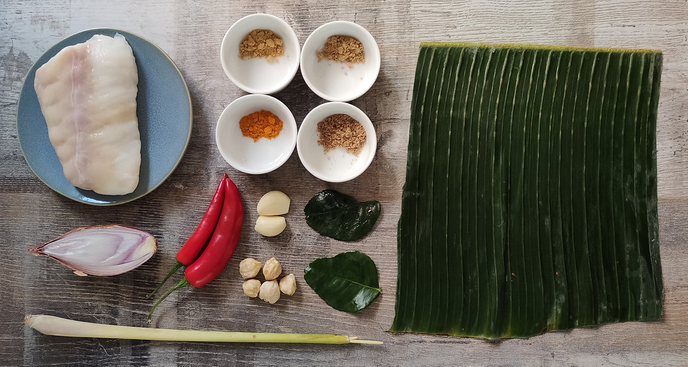 Ikan Pepesan: Indonesian cod steamed in banana leaf ingredients