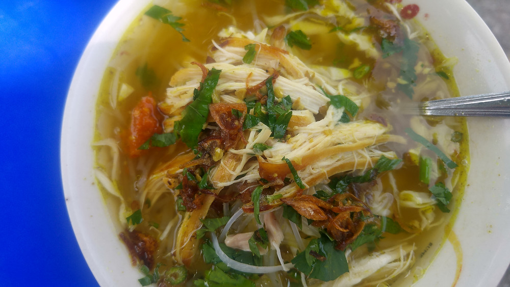 Street food Soto Ayam (chicken soup) in Yogyakarta