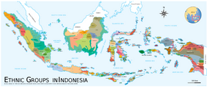 Map of Indonesia's ethnic groups and regions
