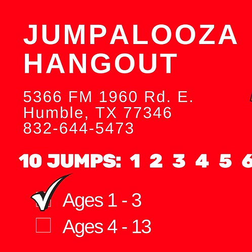 10 JUMP PASS - Ages 1-3