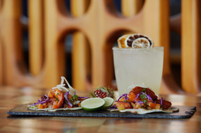 Fresh fish tacos paired with a margarita