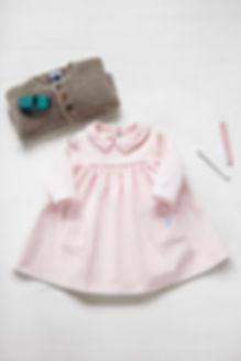 tenu petite fille, robe rose en gilet en maille