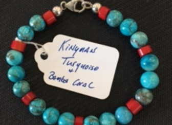 Turquoise & Bamboo Coral Bracelet